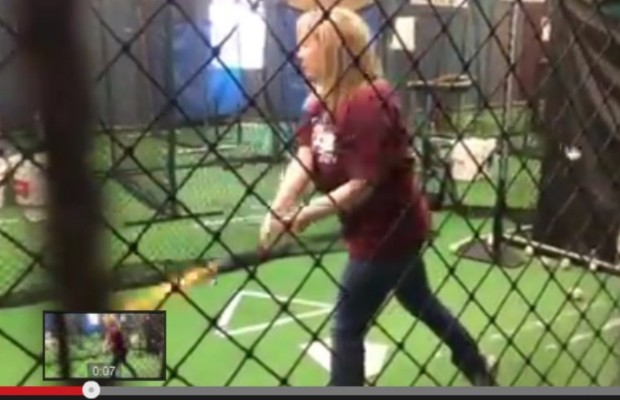 Eva's batting practice at The Edge Academy